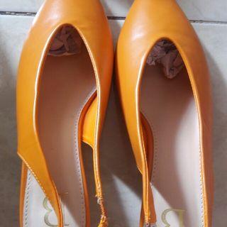 #BAPAU orange mules flat shoes