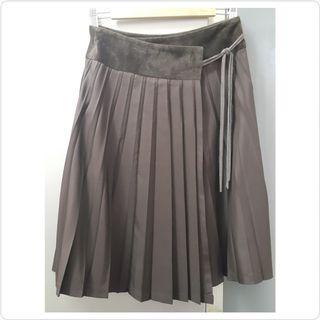 朱古力啡色百褶綁帶蝴蝶結半截裙