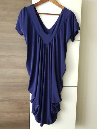 Korean style royal purple draped dress