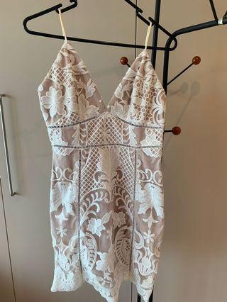 Stunning white lace mini dress- size 8