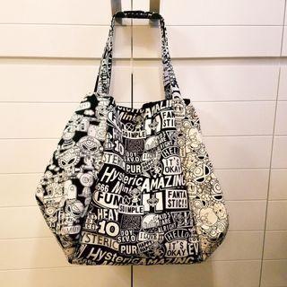 HYSTERIC Mini  黑超BB (拼布XL袋)  超大大袋  單肩袋 帆布袋 側背包 布袋 有暗袋 有啪鈕  (包平郵)