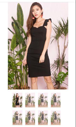 LBRLABEL Flutter Midi Dress in black