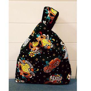 HYSTERIC Mini  黑超BB 厚實印花帆布 日式小手袋 飯盒餐袋 束口布袋 小手袋 放便袋 手挽袋 收納袋 (主圖 黑色款)(包平郵)