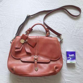 Brown leather bag 啡紅色手袋 皮