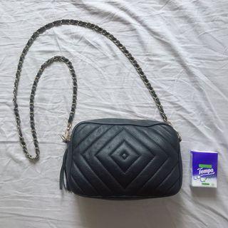 黑色皮手袋 black leather bag purse