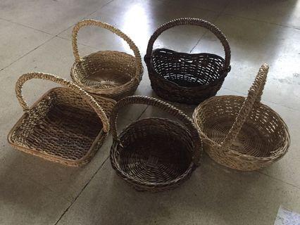 Five (5) native baskets