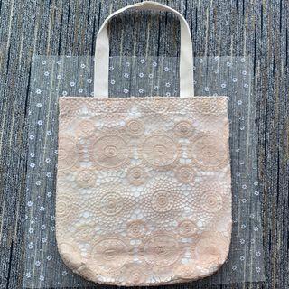 泰國lace手挽袋 -淺粉