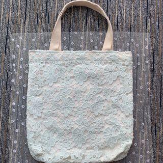 泰國lace手挽袋 -淺綠-花