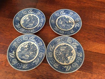 4 pieces 6 inch plates.  Made in England.  Woods & Sons Co.  Woodland pattern.  This is a discontinued item
