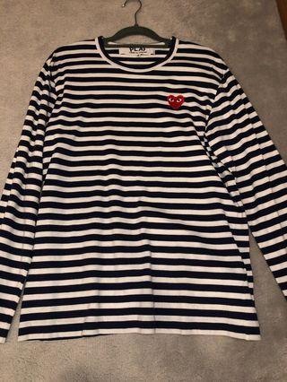 CDG Play Long Sleeve Blue Striped Shirt