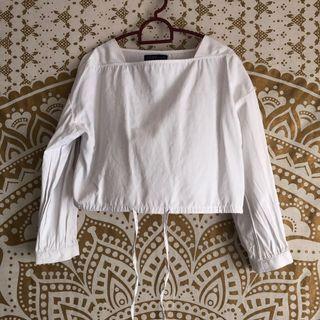 #GayaRaya Crop White Blouse