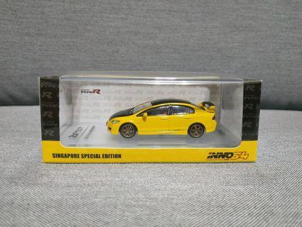 🚚 1/64 Inno64 Honda Civic Type-R FD2 Yellow Singapore Special Edition