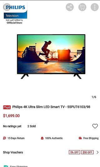 Philips 4K 55 Inch UHD Ultra HDR Slim LED Smart TV Monitor
