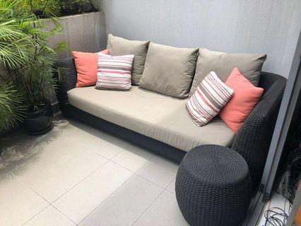 Outside sofa, armchairs and side tables
