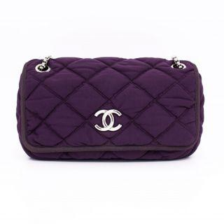 (PREOWNED) CHANEL CC LOGO QUILTED JERSEY FABRIC WITH TUBULAR PIPING FABRIC SHOULDER BAGS SHW