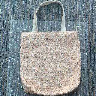 泰國直送 lace手挽袋-粉紅色大花(拉鏈)