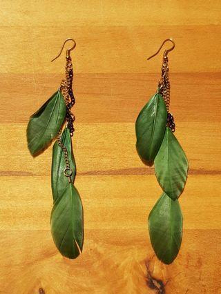 Feather Earrings (Green)