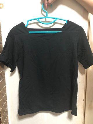 Black square collar top