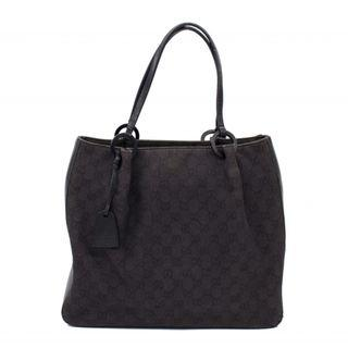 (PREOWNED) GUCCI 101920 GG FABRIC TOTE BAG WITH LEATHER TRIM GG FABRIC TOTE BAG
