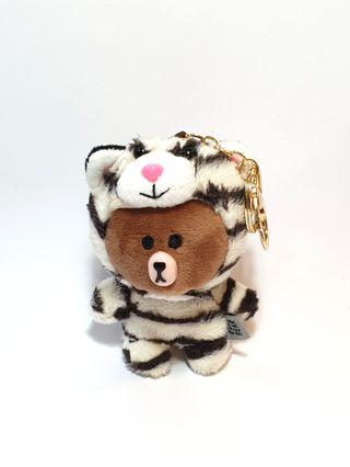 Line Bear in White Tiger Suit Keychain Plush