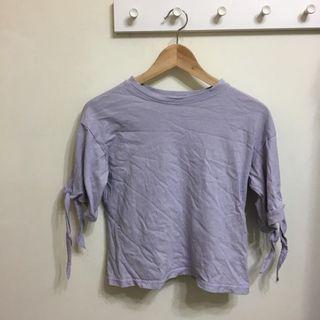 紫色袖口綁帶上衣