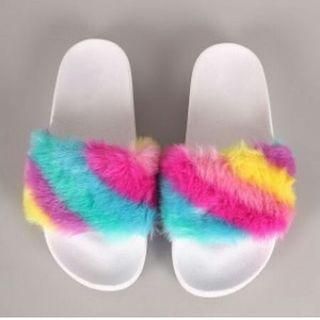 🚚 Rainbow fur slides