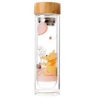 台灣直送 HOLA 迪士尼系列 維尼竹蓋雙層玻璃水瓶 420ml Winnie the Pooh