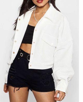 White corduroy bomber crop jacket