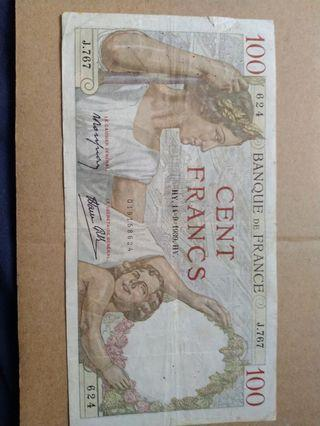 1939 fremch franc's have a tear check the pics