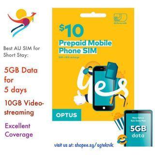 Australia Travel SIM CARD 5GB Optus Mobile 4G Data Roam AU Call Cheap Videostream