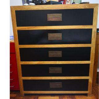 Solid Elm chest of drawers