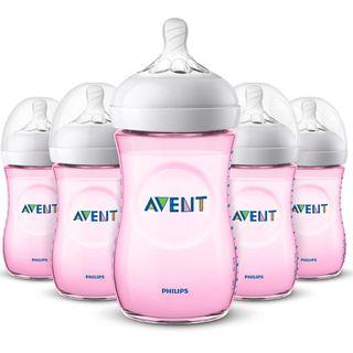 Philips Avent 260ml/9oz Natural Bottles - PINK - 5 bottles set
