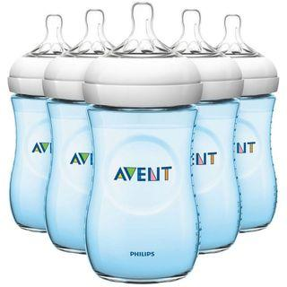 Philips Avent 260ml/9oz Natural Bottle - BLUE - 5 bottles set
