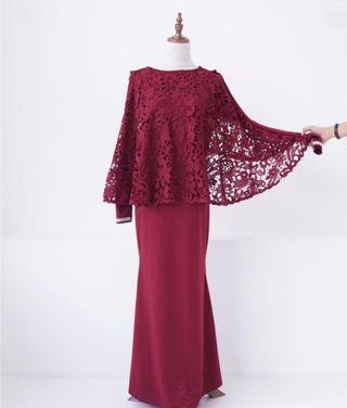 Laces Cape Dress in Maroon #GayaRaya
