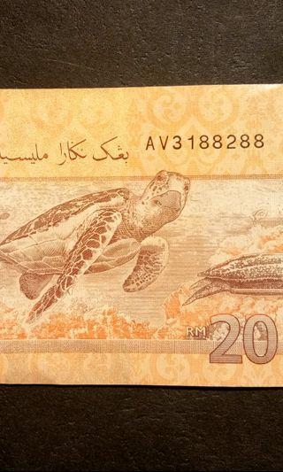 AV 3 188 288 RM 20 banknote number 3188288