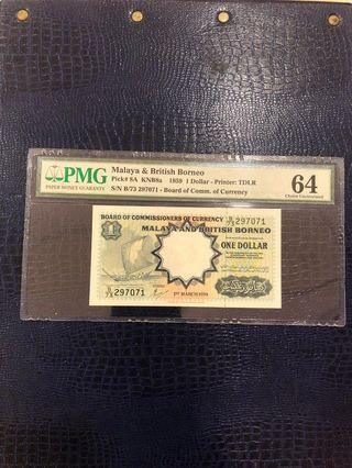 Malaya and British Borneo / MBB, $1. 马来亚旧钞。🦜