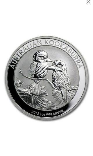 2013 Australia 1 oz Perth .999 Silver Kookaburra (from mint roll)