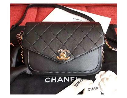 Chanel envelope flap bag bi-color hardware
