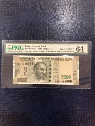 India note, 2016, 500 Rupees, Super Solid 8s, 印度钞票,五百卢比,恐龙号。🧧😻