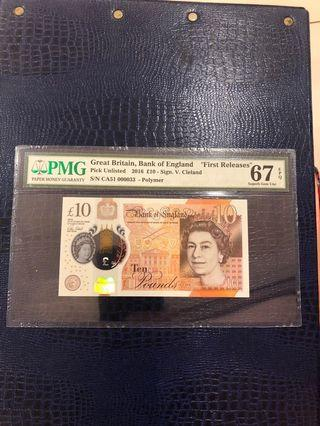 Great Britain, England, 2016, £10 pounds, low number, double 3, 十元英镑