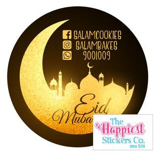 Hari Raya Eid Mubarak Aidilfitri Salam Sticker Labels for Cookie Kueh Tart Jars - customisable