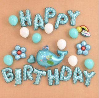 🚚 <In Stock> Blue Dolphin Theme Birthday Party Decoration Set 🎊 🎉