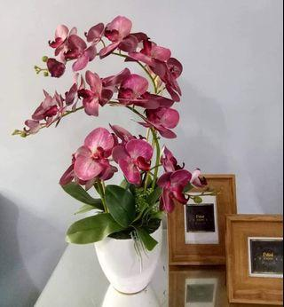 Artificial Flowers Orchid with ceramic vase