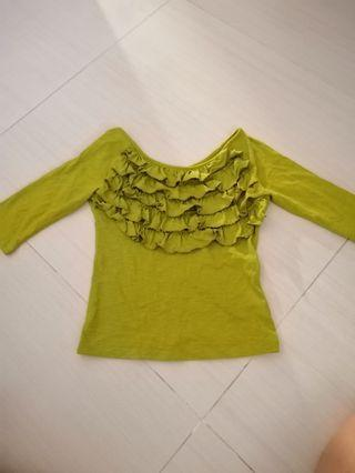 Lime Quarter Sleeve Top with ruffles