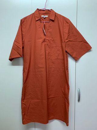 UNIQLO 棉質A字襯衫洋裝(短袖)