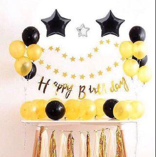 🚚 <In Stock> GOLD Theme Birthday Party Decoration Set 🎊 🎉
