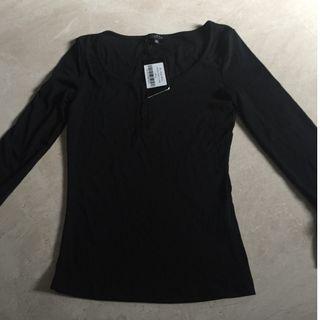Zalora Black Long Sleeve Shirt with Tag