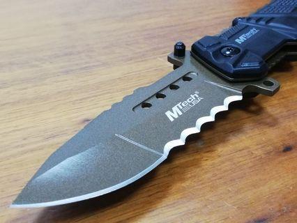罕有古銅色,美國名牌 MTech 高硬度精鋼雙刃摺刀,求生刀,露營刀,軍刀,戰術刀,折刀。