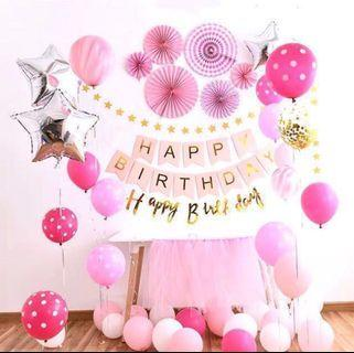 🚚 <In Stock> Pink Paper Fan Theme Birthday Party Decoration Set 🎊 🎉