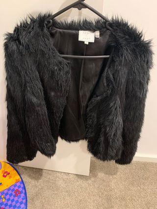Neon hart Black faux fur cropped jacket